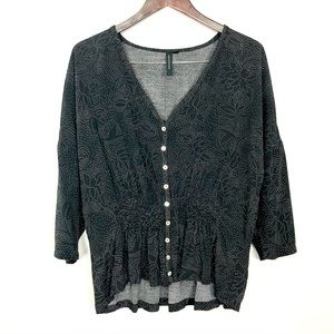 Knot Sisters Smocked Waist Blouse Button Front